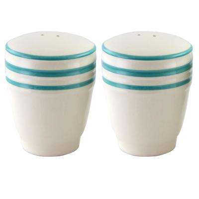 Hollydale Stoneware Linen/Teal Banded Salt and Pepper Shaker Set