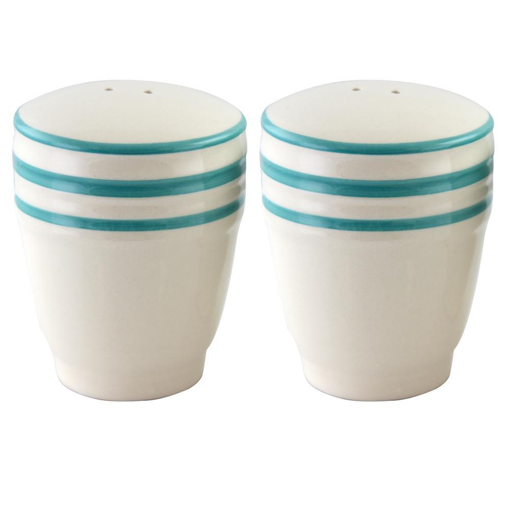 Hollydale Stoneware Linen/Teal Banded Salt and Pepper Shaker Set 985100011M