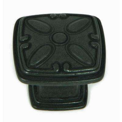 Edinburgh 1-1/4 in. Antique Black Square Cabinet Knob (10-Pack)