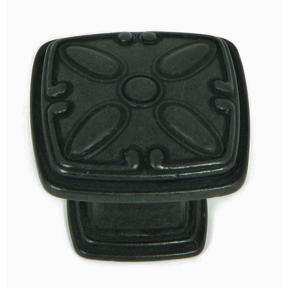 Edinburgh 1-1/4 in. Antique Black Square Cabinet Knob (25-Pack)