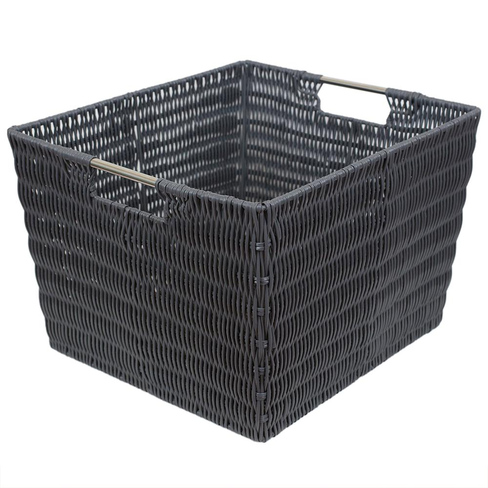 Intricate Decorative Weave 13 in. x 10 in. Grey Basket
