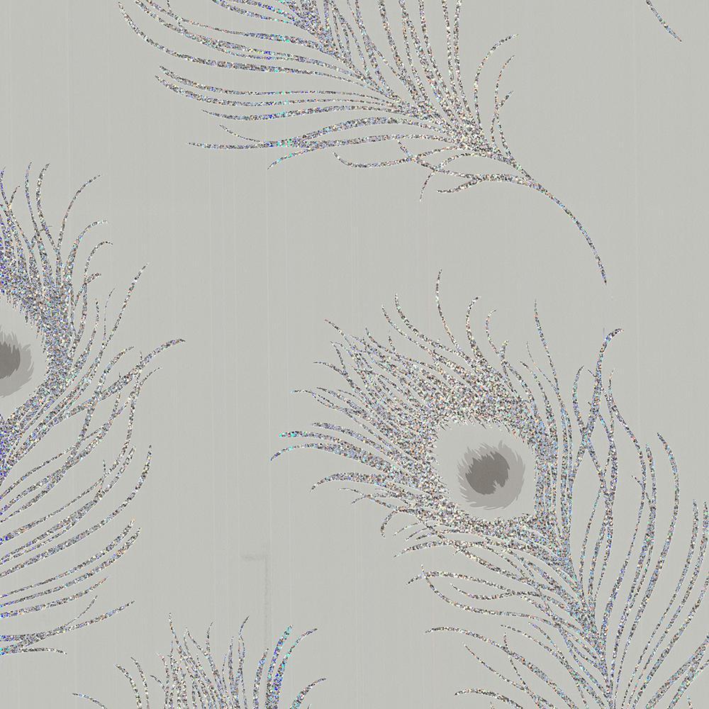 Brewster Peacock Grey Wallpaper