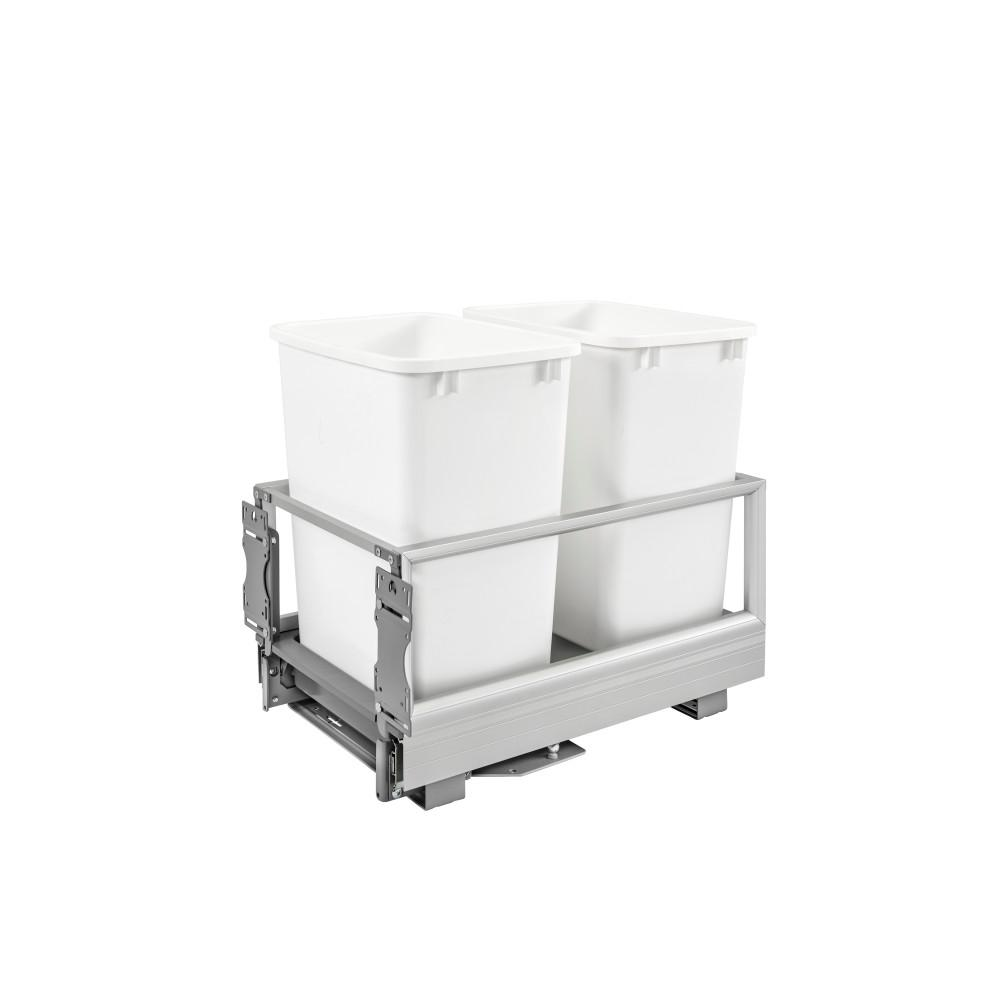Rev-A-Shelf 19.5 in. H x 14.19 in. W x 22 in. D Double 35 Qt. Pull-Out Brushed Aluminum and White Waste Container with Rev-A-Motion