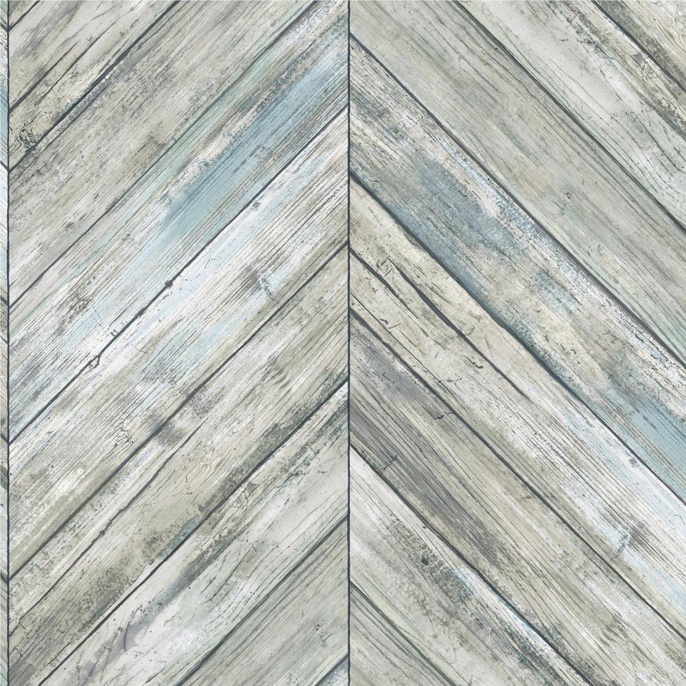 28.18 sq.ft. Herringbone Wood Boards Peel and Stick Wallpaper