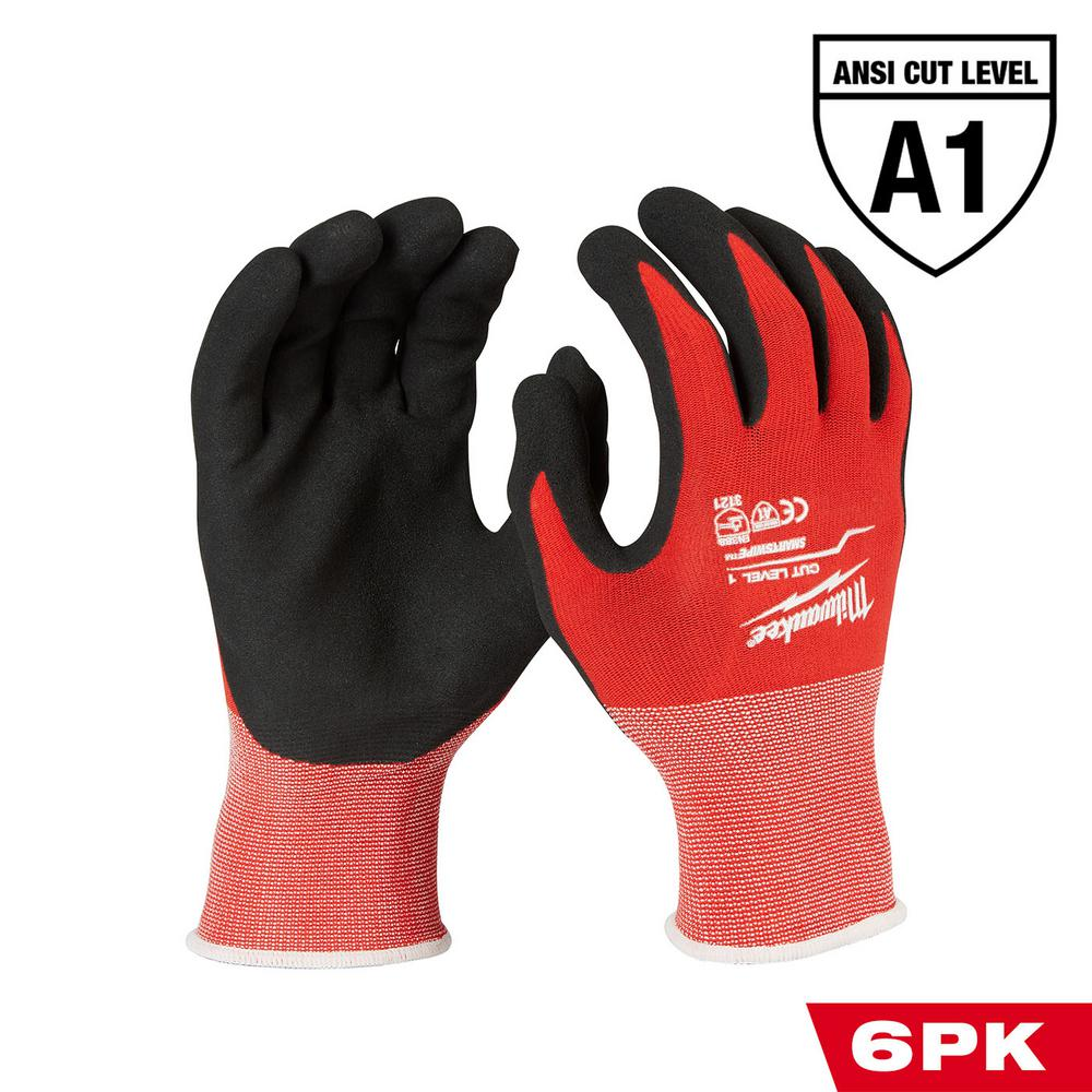 Milwaukee Large Red Nitrile Cut Level 1 Dipped Work Gloves (6-Pack)
