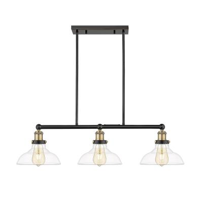 Elgin III 3-Light Painted Black with Clear Glass Shade