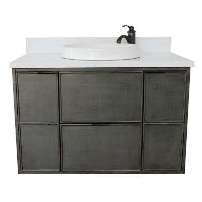 Scandi II 37 in. W x 22 in. D Wall Mount Bath Vanity in Gray with Quartz Vanity Top in White with White Round Basin