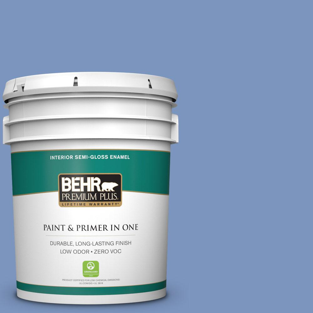 BEHR Premium Plus 5-gal. #M540-5 Blue Satin Semi-Gloss ...