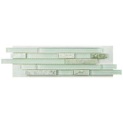 Tessera Piano Ming Glass and Stone Mosaic Tile - 3 in. x 4 in. Tile Sample