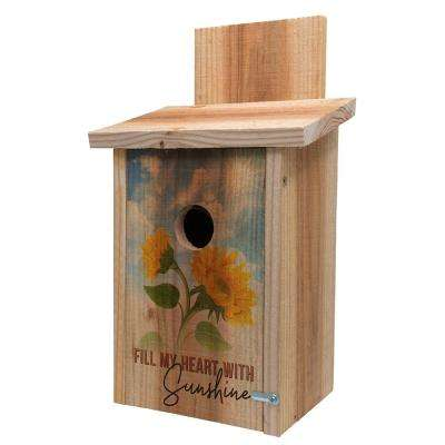 Decorative Sunflower Design Cedar Blue Bird House