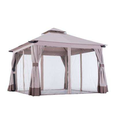 Santa Barbara 12 ft. x.12 ft. Soft Top Gazebo with Curtain and Netting