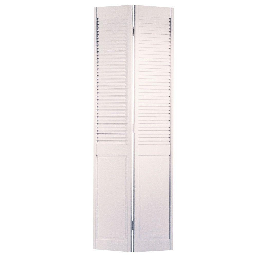 Louvered Bifold Interior Doors: Masonite 36 In. X 80 In. Half-louvered Primed White Hollow