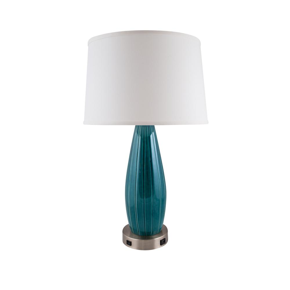 Stream line lamp with usb 275 in tropical turquoise indoor table null stream line lamp with usb 275 in tropical turquoise indoor table lamp geotapseo Images