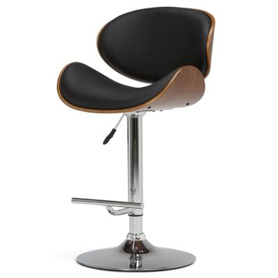 Marana 45.3 in. Black Faux Leather Bentwood Adjustable Height Gas Lift Bar Stool