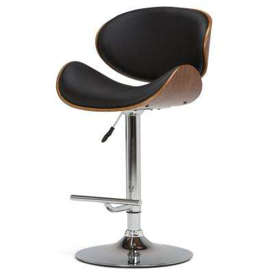 Marana 45.28 in. Black and Natural Bentwood Gas Lift Swivel Bar Stool (Set of 1)