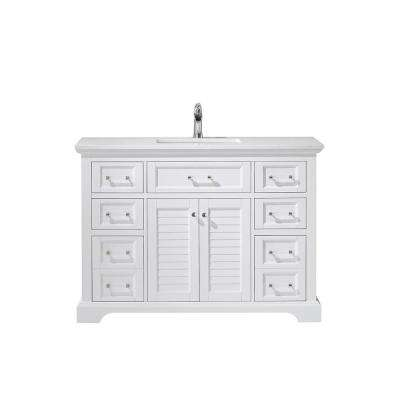 Lorna 48 in. Bath Vanity in White with Manufactured Stone Vanity Top in White with White Basin