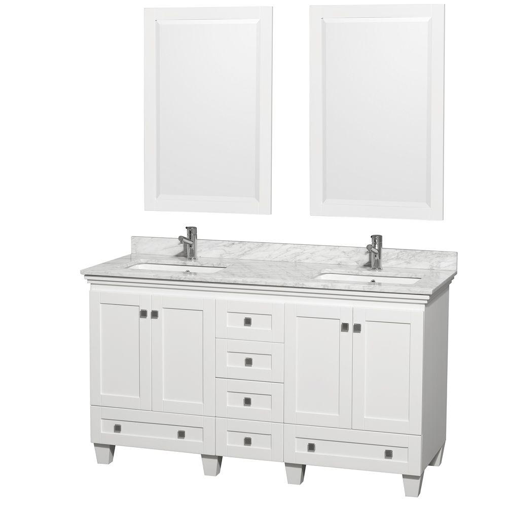 Acclaim 60 in. Double Vanity in White with Marble Vanity Top