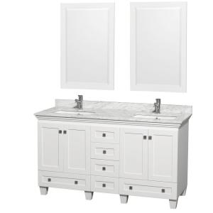 Wyndham Collection Acclaim 60 inch Double Vanity in White with Marble Vanity Top in... by Wyndham Collection
