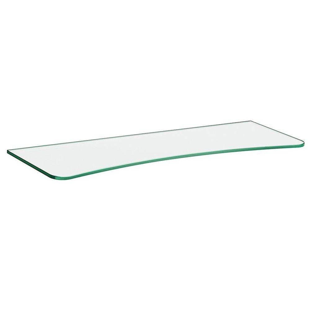 Dolle 32 in. x 10 in. x 5/16 in. x 7 in. Concave Line Shelf in Clear Glass
