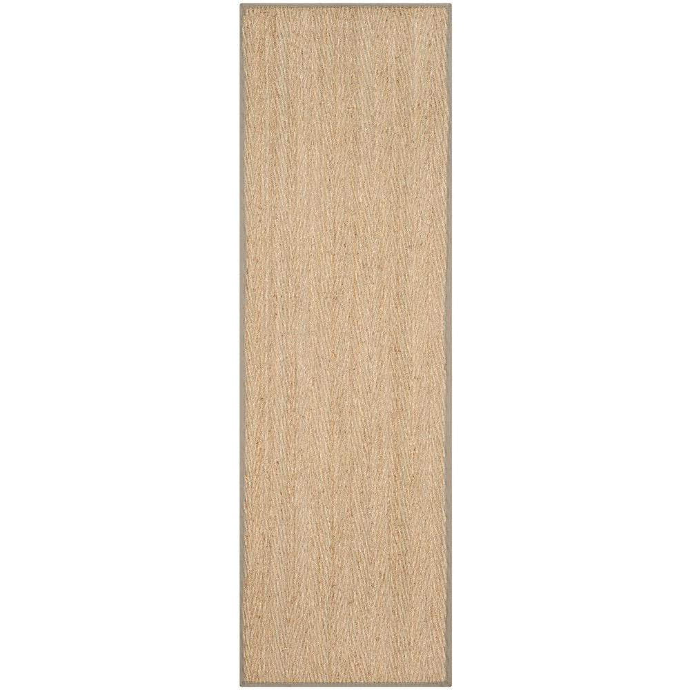 Natural Fiber Beige/Grey 2 ft. 6 in. x 6 ft. Runner