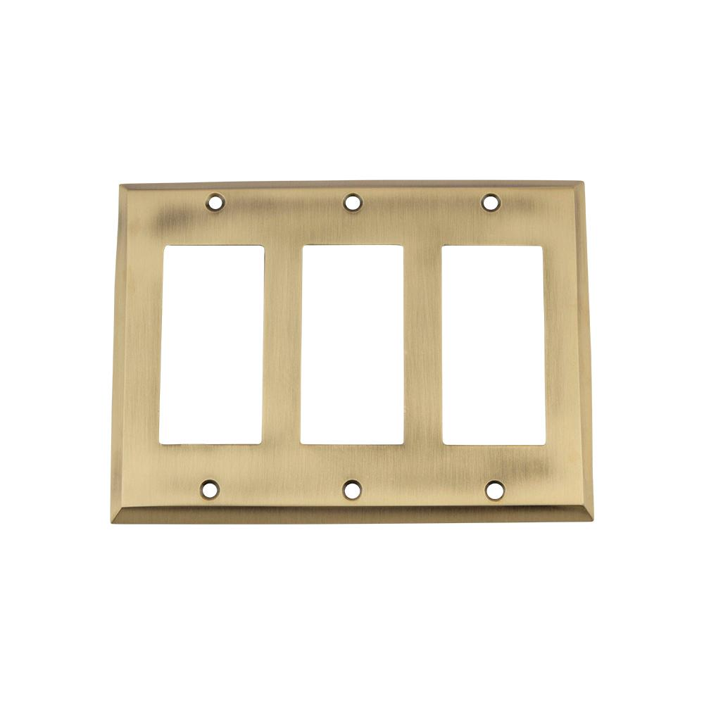 Nostalgic Warehouse Egg and Dart Switch Plate with Triple Rocker in ...