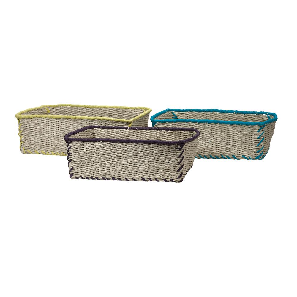 Brown and Tan Woven Storage Basket (Set of 3)