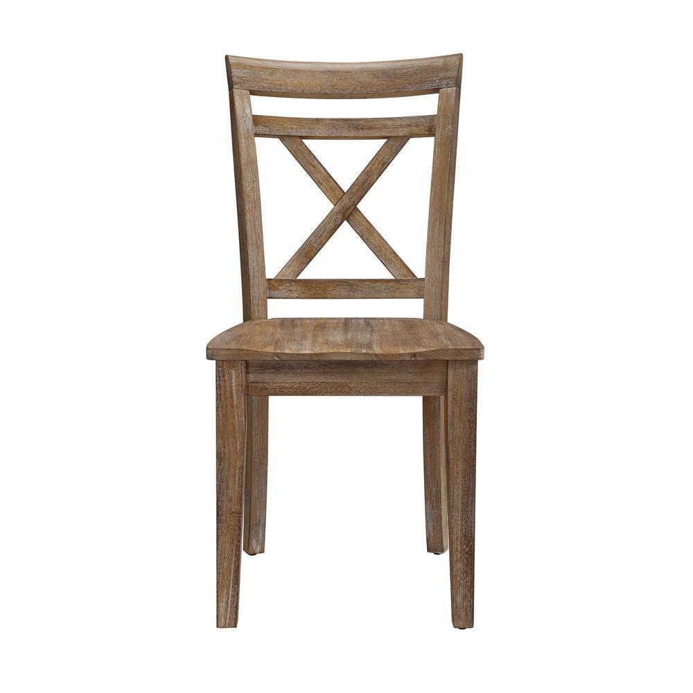 Dorel Living Brookline Natural Rustic Wooden Desk Chair