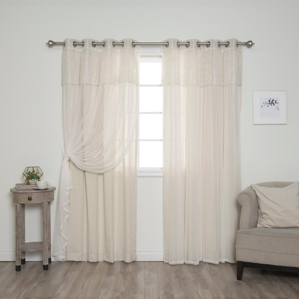 Best Home Fashion UMIXm Dimanche Tulle And Natural Faux Linen Grommet Curtain