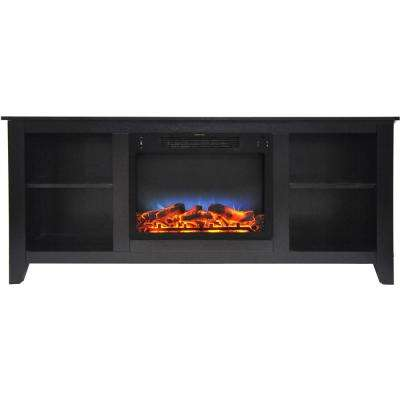 Santa Monica 63 in. Freestanding Electric Fireplace and Entertainment Stand in Black Coffee withMulti-Color LED Insert