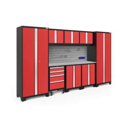 Bold Series 3.0 77.25 in. H x 132 in. W x 18 in. D 24-Gauge Steel Cabinet Set in Red (9-Piece)