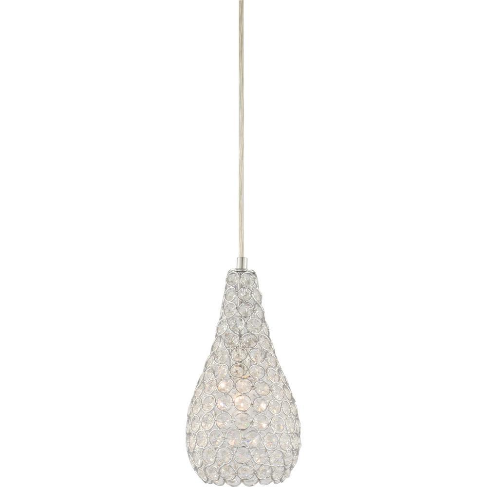 Volume Lighting 1 Light Chrome Sparkling Clear Crystal Pear Teardrop Hanging Mini Pendant