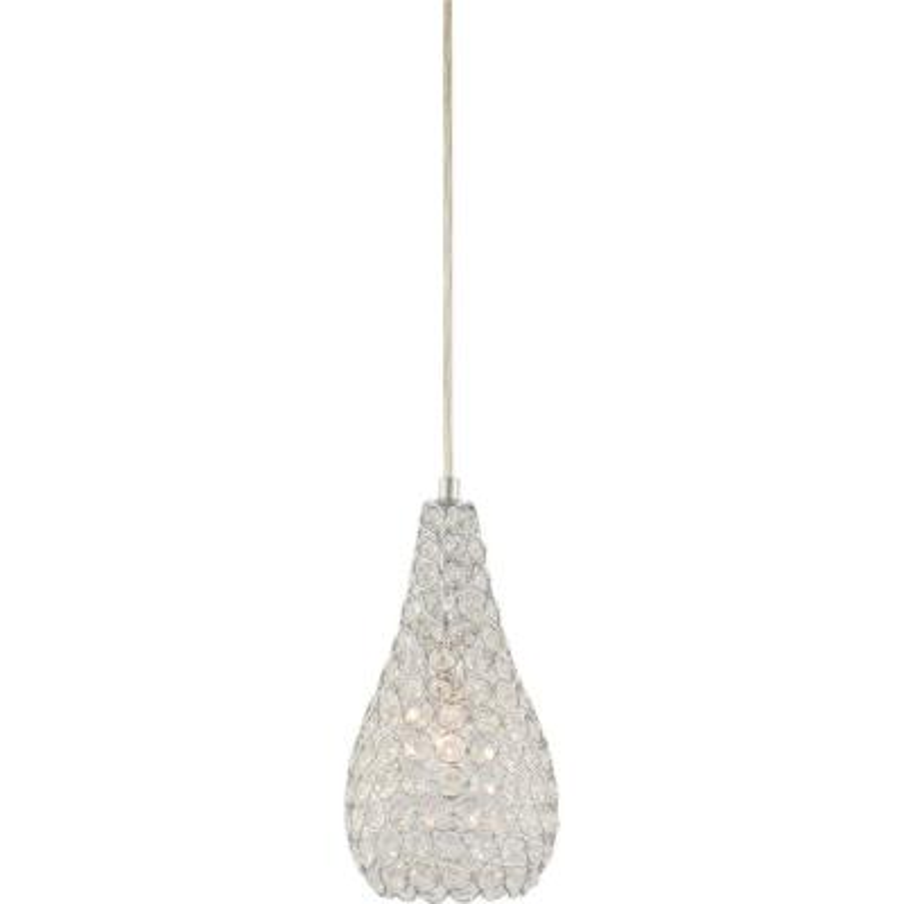 1-Light Chrome Sparkling Clear Crystal Pear/Teardrop Hanging Mini Pendant