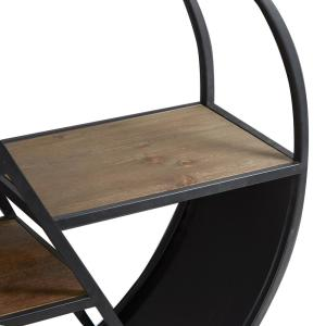 Dillon Round Asymmetrical Tiered Slim Black Side Table