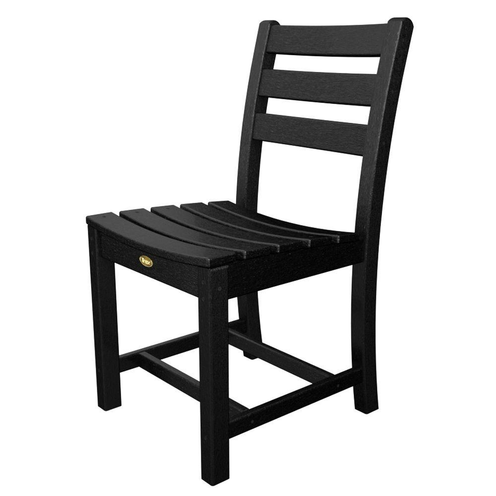 Trex outdoor furniture monterey bay charcoal black plastic for Black plastic dining chairs