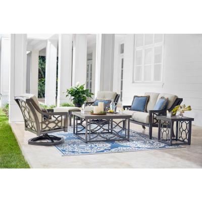 Richmond Hill Heather Slate Aluminum Outdoor Loveseat with Hybrid Smoke Cushions