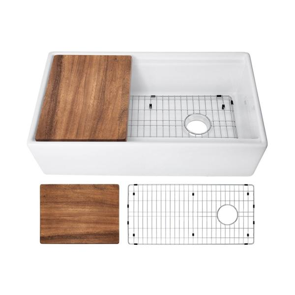 Fireclay 36 in. Single Bowl Farmhouse Apron Front Reversible Kitchen Sink in White with Cutting Board and Grid