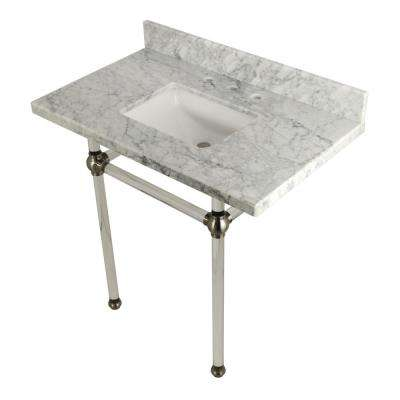Square Sink Washstand 36 in. Console Table in Carrara Marble with Acrylic Legs in Satin Nickel