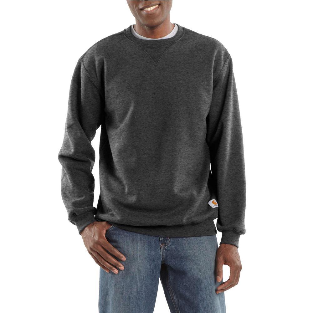 499773cb Carhartt Men's Extra Large Carbon Heather Cotton/Polyester Midweight Crewneck  Sweatshirt