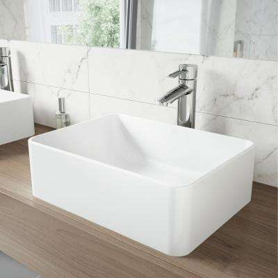 Caladesi Matte Stone Vessel Sink in White with Shadow Bathroom Vessel Faucet in Chrome