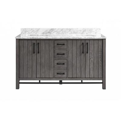 Stanbury 60 in. W x 22 in. D Double Vanity in Cashmere with Carrara Marble Vanity Top with White Basins