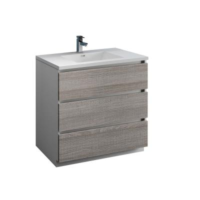 Lazzaro 36 in. Modern Bathroom Vanity in Glossy Ash Gray with Vanity Top in White with White Basin