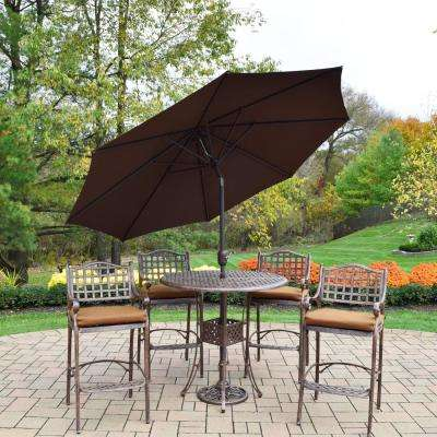 Elite 7-Piece Aluminum Outdoor Bar Height Dining Set with Sunbrella Brown Cushions and Brown Umbrella