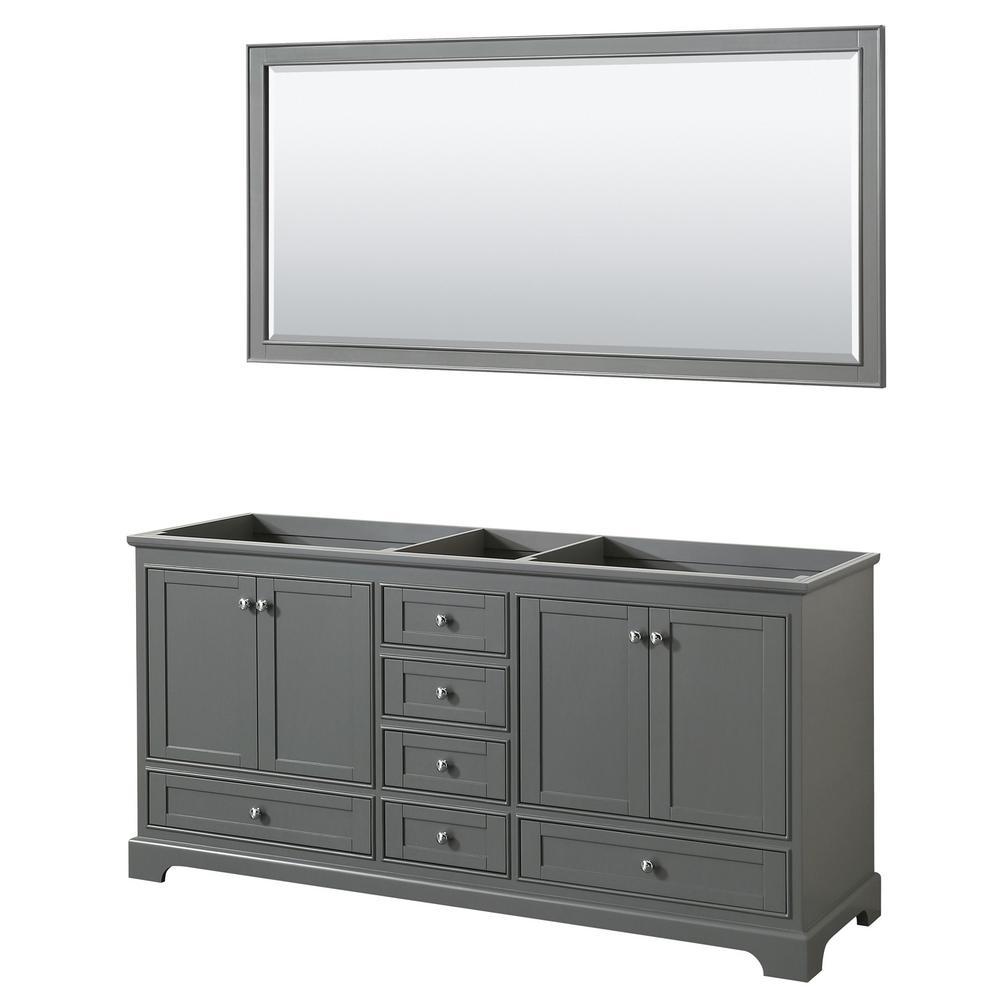 Deborah 71 in. Double Bathroom Vanity Cabinet Only with 70 in. Mirror in Dark Gray