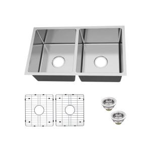 Undermount 18-Gauge Stainless Steel 31 in. 0-Hole 50/50 Double Bowl Kitchen Sink with Grid and Drain Assemblies