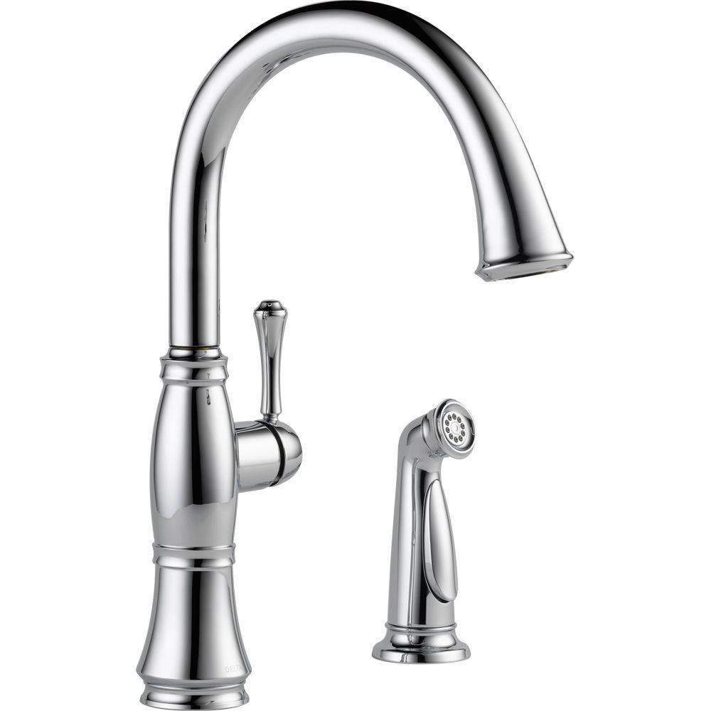 Charming Delta Cassidy Single Handle Standard Kitchen Faucet With Side Sprayer In  Chrome