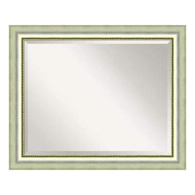 Vegas Burnished Silver Wood 33 in. W x 27 in. H Casual Bathroom Vanity Mirror
