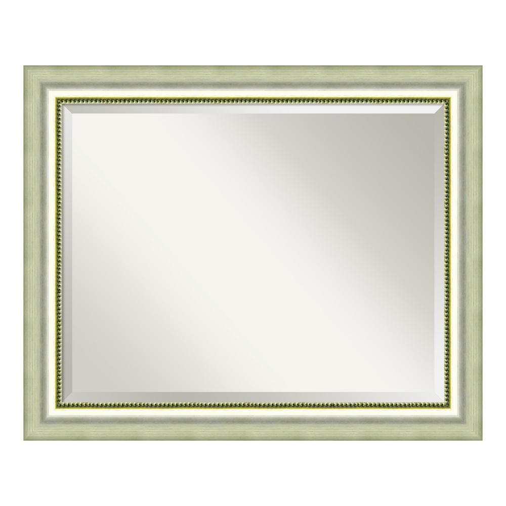 Vegas Burnished Silver Wood 33 in. W x 27 in. H Casual Bathroom Vanity Mirror