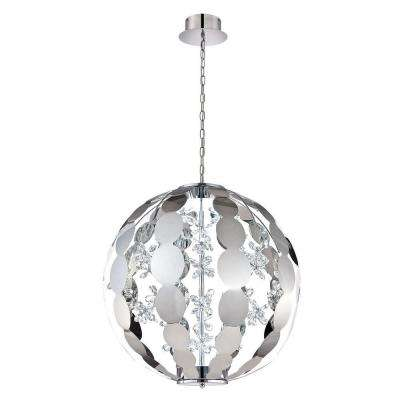 World Collection 36-Watt Chrome Integrated LED Chandelier with Crystal Shade