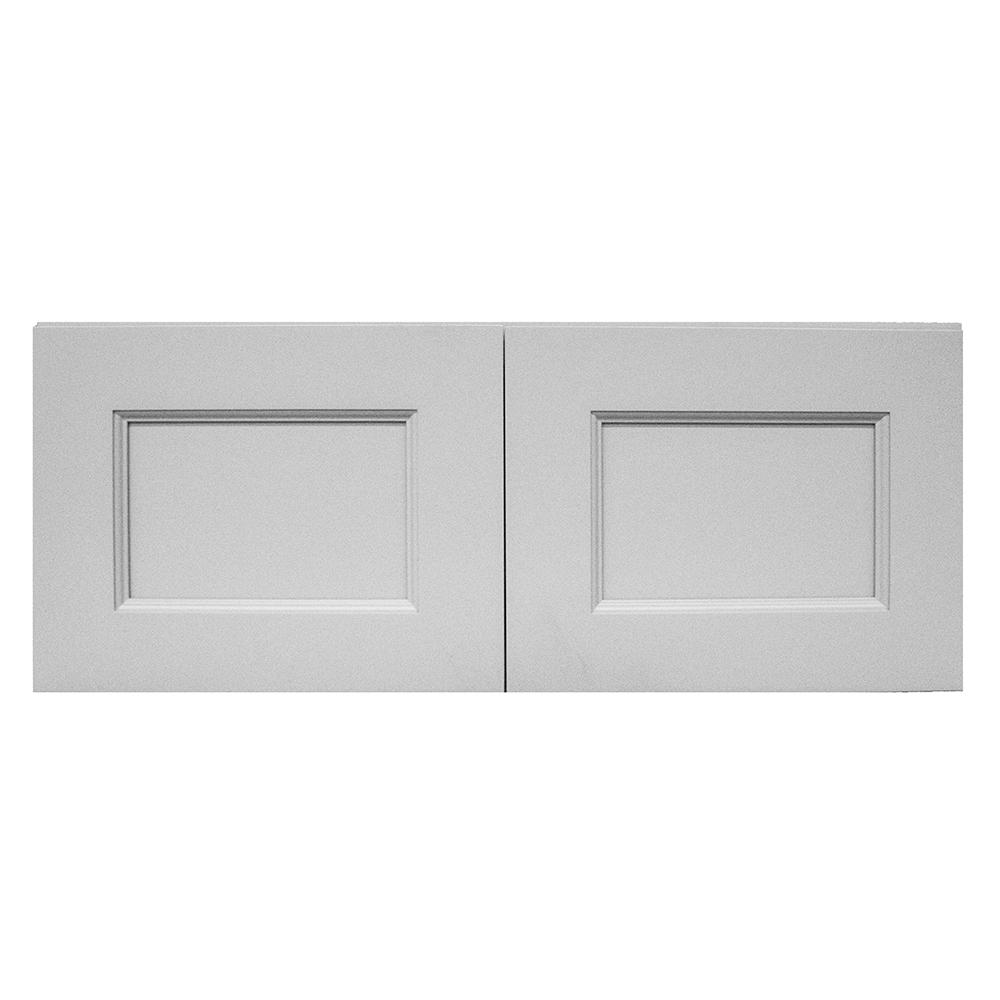 Krosswood Doors Modern Craftsman Ready To Assemble 36x12x12 In Wall Cabinet With 2 Door In Gray