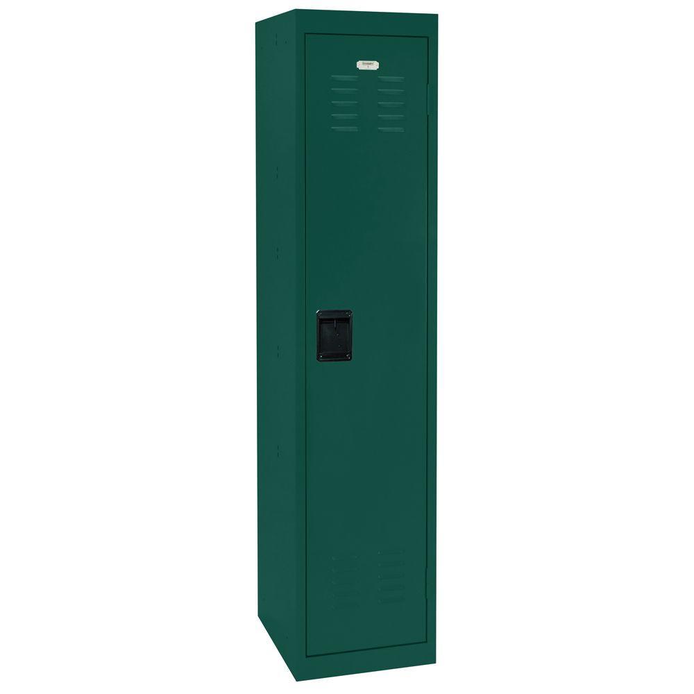 Sandusky 66 in. H x 15 in. W x 18 in. D Single-Tier Welded Steel Storage Locker in Forest Green